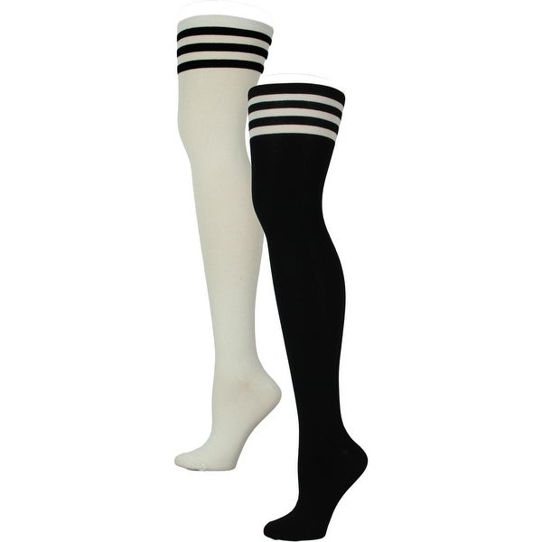 d3f642cc0 Shop Haslra Womens Over-the-Knee Socks 2 Pack Striped - 9-10.5 ...
