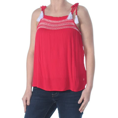ULTRA FLIRT Womens Red Tie Embroidered Crinkle Nordic Square Neck Tank Top Size: XL