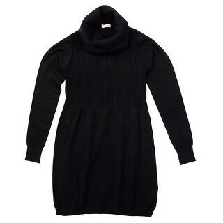 Cashmere Company COLLONE TRECCE NR Black Cashmere Blend Rolled Neck Dress L