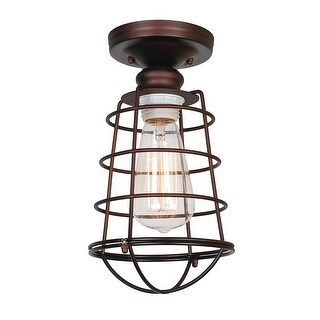 Design House 519694 Ajax 1-Light Dimmable Semi-Flush Ceiling Fixture in Textured Coffee Bronze Finish