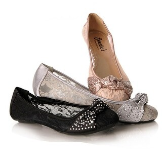 Sweetie's Shoes Nude Lace Stone Knot Ann Special Occasion Flats