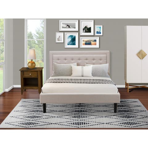 Fannin Bed Set with Queen Size Bed and a Mid Century Nightstand - Mist Beige Linen Fabric - ( End Table Piece Option )
