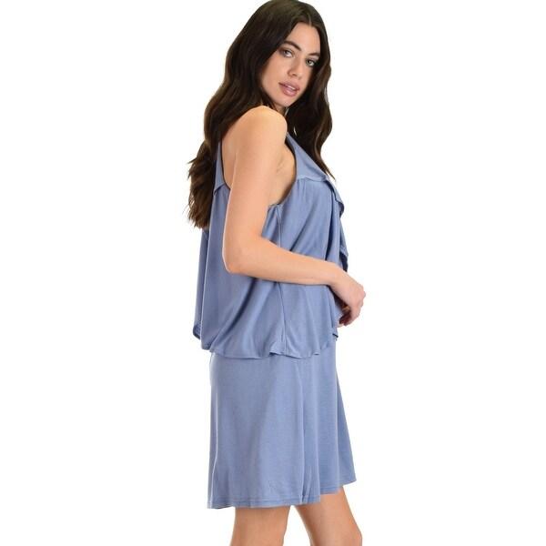 e69ce1c40a misty blue sleeveless shift dress with dropped ruffles sl4246 -Blue-Small