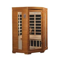 Dynamic 2-person Far Infrared Natural Hemlock Wood Corner Sauna Le Mans / DYN-6225-02 - White