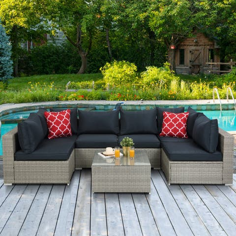 Outdoor Rattan 7 Pieces Sectional Sofa With Cushion