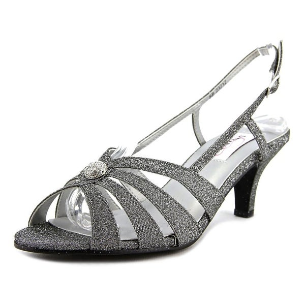 Dyeables Fiona Women Open-Toe Synthetic Silver Slingback Heel