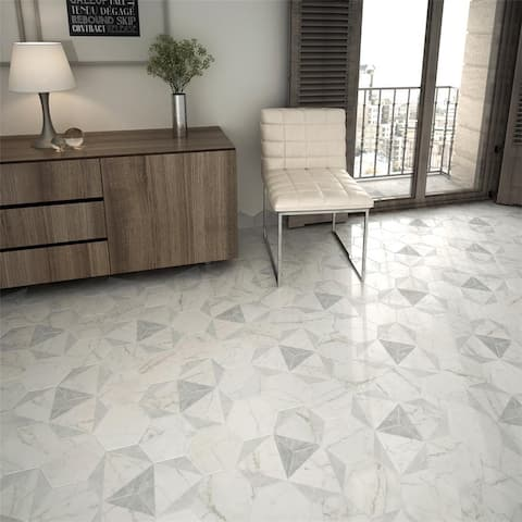 SomerTile 7x8-inch Carra Carrara Hexagon Peak Porcelain Floor and Wall Tile (25 tiles/7.67 sqft.)