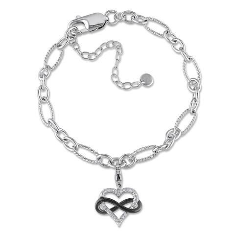 Miadora Silver 1/10ct TDW Diamond Heart Infinity Charm Bracelet