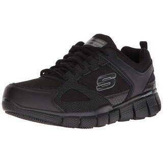 Skechers Work Men Telfin-Sanphet Industrial Shoe, Black Leather Courdura, 8 M Us