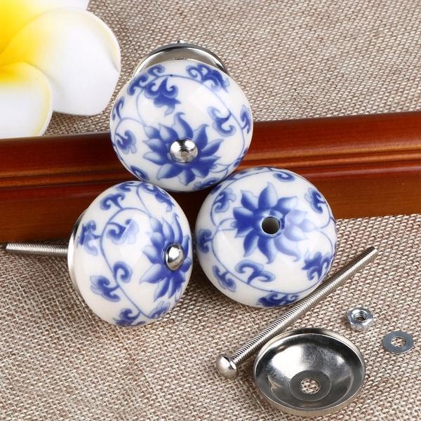 20 x Door Knobs Handles Vintage Ceramic Flowers Cabinet Drawer Cupboard Pattern