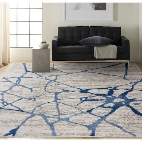 Calvin Klein River Flow Contemporary Abstract Ivory Blue Area Rug