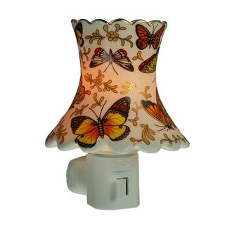 Butterfly Fields Ceramic Lampshade Plug In Night Light - White