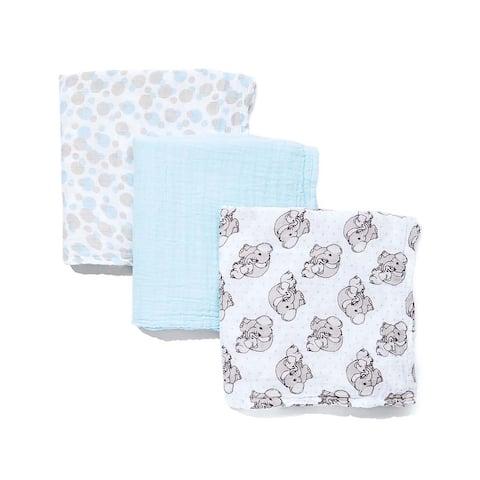 3 Coordinating Muslin Baby Swaddling Blankets - N/A