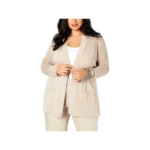ANNE KLEIN Womens Beige Long Sleeve Open Cardigan Sweater Size L