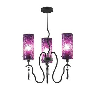 Woodbridge Lighting 14213-M10PUR 3 Light 1 Tier Chandelier with Purple Glass Shades from the Haley Collection