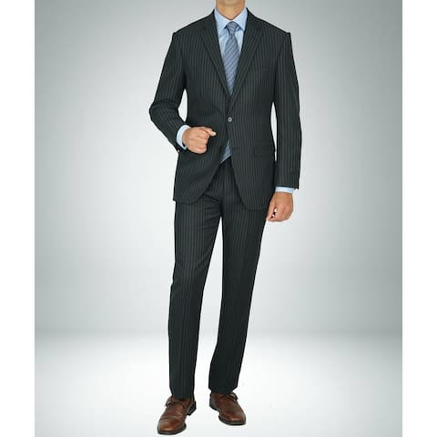 Carlo Studio Black Pinstripe Modern-Fit Suit