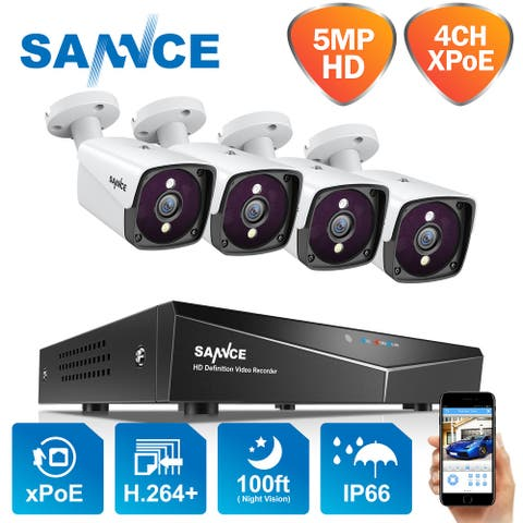 SANNCE 4CH 5MP XPoE Network Video Waterproof Security Camera Wired System Surveillance Kit
