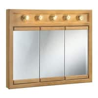 "Design House 530618 36"" Framed Triple Door Mirrored Medicine Cabinet with 5 Lights from the Richland Collection"