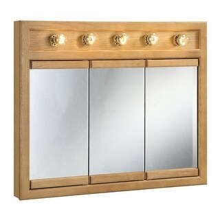 """Design House 530618 36"""" Framed Triple Door Mirrored Medicine Cabinet with 5 Lights from the Richland Collection"""