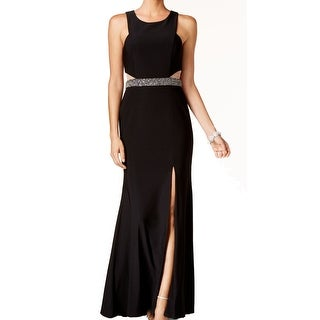 Xscape NEW Black Women's Size 4 Front Slit Beaded Illusion Maxi Dress