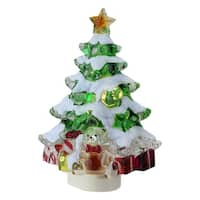 "5.25"" Snowy Christmas Tree with Presents Decorative Christmas Night Light - green"