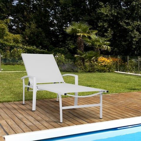 NUU GARDEN Outdoor Cast Aluminum Chaise Lounge in White/Grey