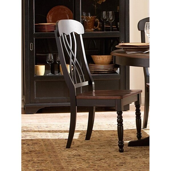 Contemporary Style Wooden Side Chair with X-Back Design, Brown and Black, Set of Two