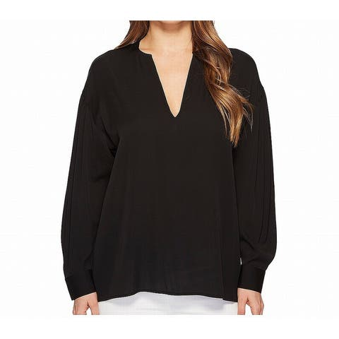 Vince Womens Night Black Size Small S V-Neck Hi-Low Solid Blouse