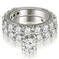 4.15 ct.tw 14K White Gold Antique Round Cut Diamond Engagement Bridal Set HI, SI1-2 - Thumbnail 0