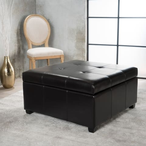 Carlsbad Bonded Leather Storage Ottoman by Christopher Knight Home