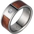 Titanium Diamond Wedding Ring With Koa Wood Inlay 8mm - Thumbnail 0