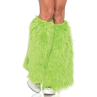 Neon Green Furry Leg Warmers Womens Costume Accessory