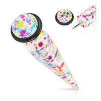Paint Splatter Print Solid Acrylic Fake Taper with O-Ring (Sold Individually)