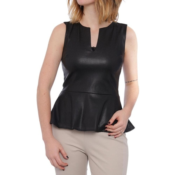 XOXO Faux Leather-Front Peplum Top Women Juniors Blouse