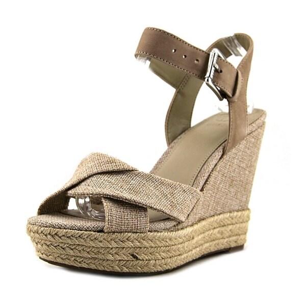 Guess Sanda Women Open Toe Canvas Tan Wedge Sandal