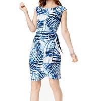Jessica Howard Blue Womens Size 14 Printed Side-Tie Sheath Dress