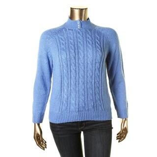 Karen Scott Womens Cable Knit Raglan Sleeves Mock Turtleneck Sweater