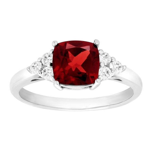 2 1/6 ct Natural Garnet & White Topaz Ring in Sterling Silver - Red