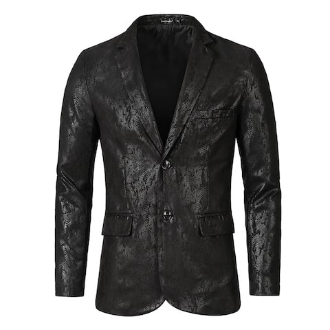 Men Luxury Fashion Stylish Print Slim Fit Wedding Dinner Prom Dress Party Blazer - Black