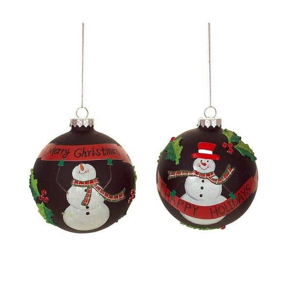 """Pack of 6 Decorative and Festive Snowman with Banner Glass Ball Ornament 4.25"""" - black"""