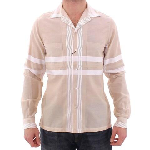Dolce & Gabbana Dolce & Gabbana Beige Regular Fit Cotton Casual Shirt - 38