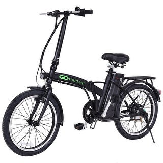 Goplus 20'' 250W 36V Folding Electric Mountain Bicycle EBike Speed Lithium Battery Black