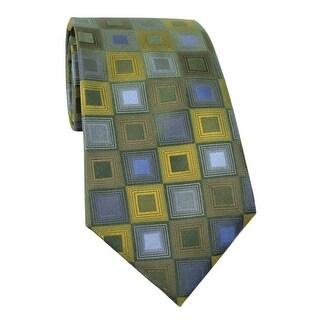 Kenneth Cole Reaction Spaniel Geo Classic Silk Tie Dark Green