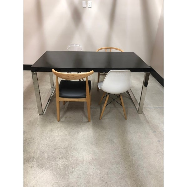 2xhome Modern Mid Century Black Glossy Paint Wood Top Silver Chrome Steel  Leg Base Rectangle Dining