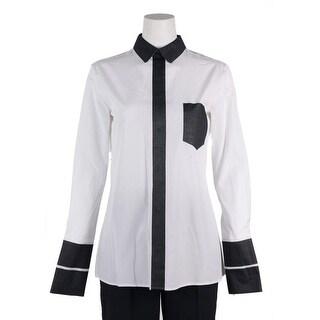 Maison Margiela Womens White Grey Paneled Cotton Button Down