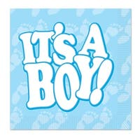 Club Pack of 192 Blue and White It's A Boy Party Disposable 2-Ply Luncheon Napkins