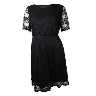 Love Squared Women's Illusion-Sleeves Lace Dress