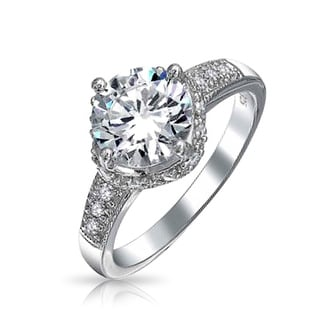 2 5CT Round Crown Set Brilliant Solitaire AAA CZ Engagement Ring For Women Pave Band Cubic Zirconia 925 Sterling Silver