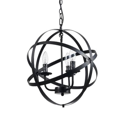 CO-Z Industrial 3 Light Globe Pendant Chandelier - Black