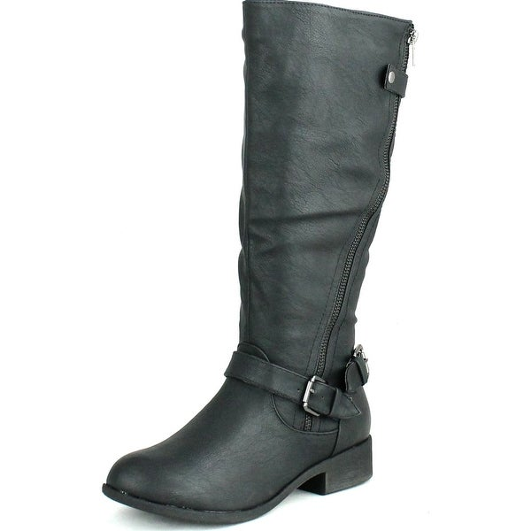 Anna Womens Juno-7 Fashion Buckle Side Zipper Combat Riding Knee High Flat Boot